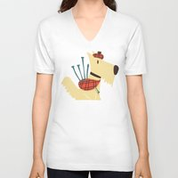 terrier V-neck T-shirts featuring Scottish  Terrier - My Pet by Picomodi