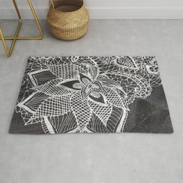 White hand drawn floral lace black chalkboard Rug