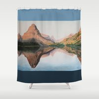 medicine Shower Curtains featuring Two Medicine Reflection by Brittany Stout Art