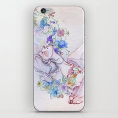 The lady and the flowers. iPhone Skin