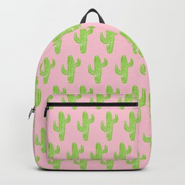 Linocut Cacti Minty Pinky Backpack