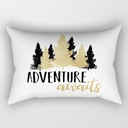 Adventure Awaits - Forest Trees Black And Gold Rectangular Pillow