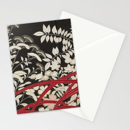 Kuro-tomesode with a Pair of Pheasants in Hiding (Japan, untouched kimono detail) Stationery Cards