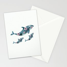 Rose Garden Whales Stationery Cards