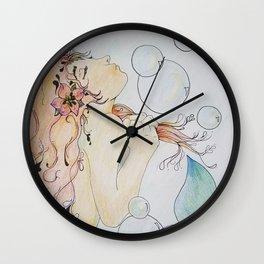 memaid & bubbles Wall Clock