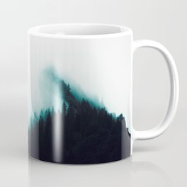 Misty Pine Forest Turquoise Teal Watercolor Fog Minimalist Modern Landscape Photography Coffee Mug