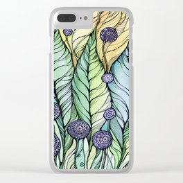 Dandelions.Hand draw  ink and pen, Watercolor, on textured paper Clear iPhone Case