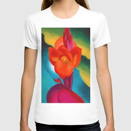 Red Canna Lilies Flower Still life Portrait Painting by Georgia O'Keeffe T-shirt