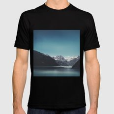 turquoise mountain lake Black MEDIUM Mens Fitted Tee