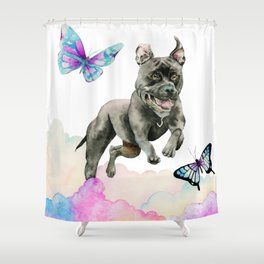 Leap! | Pit Bull Dog, Rainbow Clouds, and Butterflies Shower Curtain