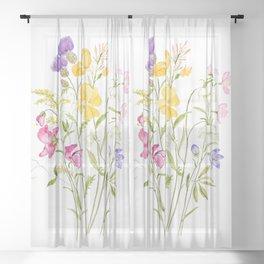 yellow pink white and  purple windflowers 2020 Sheer Curtain
