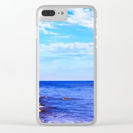 blue ocean view with blue cloudy sky in summer Clear iPhone Case