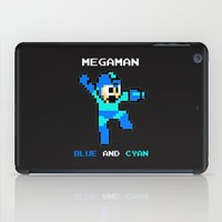 megaman iPad Cases featuring Megaman Blue and Cyan by CmOrigins