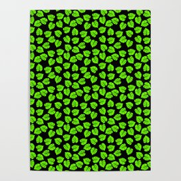 Giant  Bright Neon Green Monstera Tropical Jungle Leaves Poster