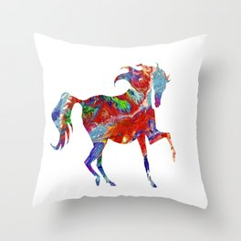 Horse Colorful Silhouette Throw Pillow