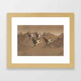 Cranes Flying Over Mongolia Framed Art Print