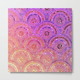 Pink Purple and Gold Sparkling Faux Glitter Mermaid Circles Metal Print