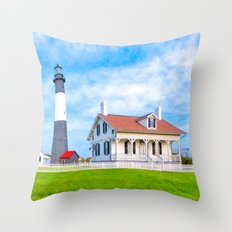 Tybee Island Lighthouse On A Beautiful Morning Throw Pillow