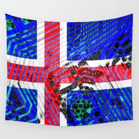 iceland Wall Tapestries featuring circuit board Flag (iceland) by seb mcnulty