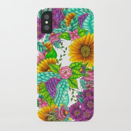 Sunflowers purple watercolor floral hand drawn summer illustration iPhone Case