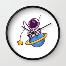 Cute Astronaut Fishing Star Planet Cartoon Icon Illustration People Science Space Icon Concept Isola Wall Clock