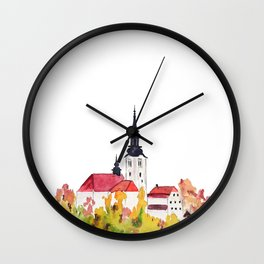 Slovenia Bled Lake pilgrimage church Wall Clock
