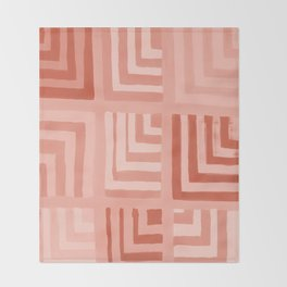 Painted Color Block Squares in Peach Throw Blanket