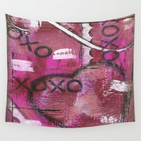 xoxo Wall Tapestries featuring XOXO by Kimberly McGuiness