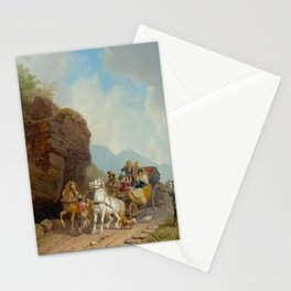 BÜRKEL, HEINRICH (Pirmasens 1802 - 1869 Munich) The coach ambush. Stationery Cards