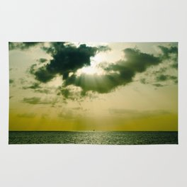 Green Sepia Monochromatic Ocean Clouds Photo Sun Shining Through Clouds Rug