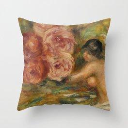 """Auguste Renoir """"Roses et Étude de Gabrielle"""" Throw Pillow"""