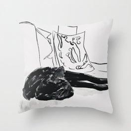 Black Cat Sleeping Throw Pillow