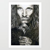 aragorn Art Prints featuring Aragorn by Lucy Yin Art
