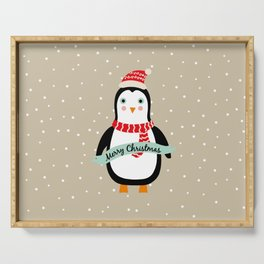 """Cute Penguin wishes """"Merry Christmas"""" - X-mas Christmas Winter Design Serving Tray"""