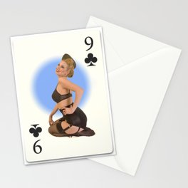 """Nine of Clubs"" - Playful Pinup Girl - Retro Vintage Playing Card Pinup Stationery Cards"