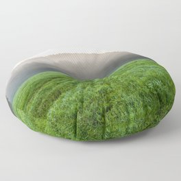 Morning mist over the fields Floor Pillow