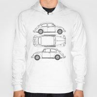 blueprint Hoodies featuring VW Beetle Blueprint by Barbo's Art