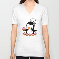 cooking V-neck T-shirts featuring Cooking Penguin by joanfriends