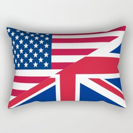 American and Union Jack Flag Rectangular Pillow