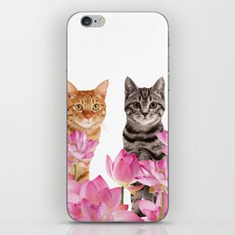 Red and Tiger cat in Lotos Flower Field iPhone Skin
