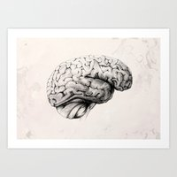 brain waves Art Prints featuring Brain by Andreas Derebucha
