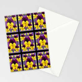 PURPLE-YELLOW PANSIES ON BLACK GRID Stationery Cards