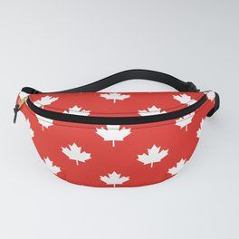 Large Reversed White Canadian Maple Leaf on Red Fanny Pack