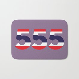 555 in the colors of the Thai flag Bath Mat