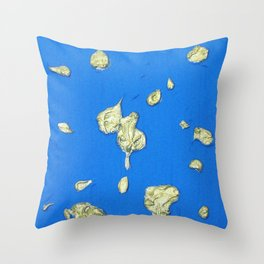 Golden Islands in the Ocean / Abstract Acrylic Painting Throw Pillow