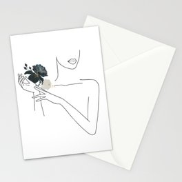 Minimal Line Art Woman with Flowers I Stationery Cards