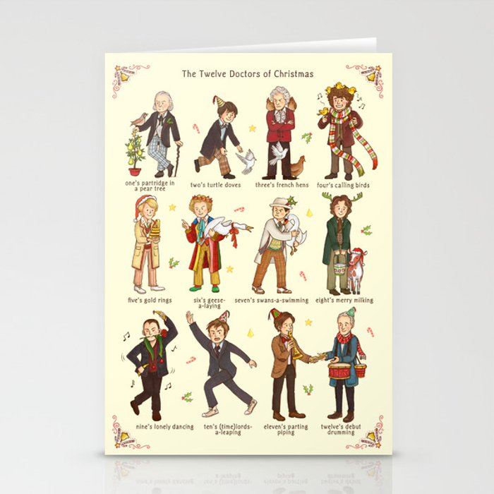The Twelve Doctors of Christmas Stationery Cards