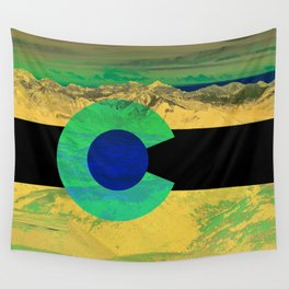 Colorado flag and mountains Wall Tapestry
