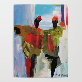 People Figure the World Abstract Art Contemporary Blue Red Green Black Sky Poster
