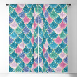 Glittery Mermaid Scales Blackout Curtain
